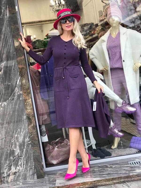 Комплект рокля с пуловер в лила
