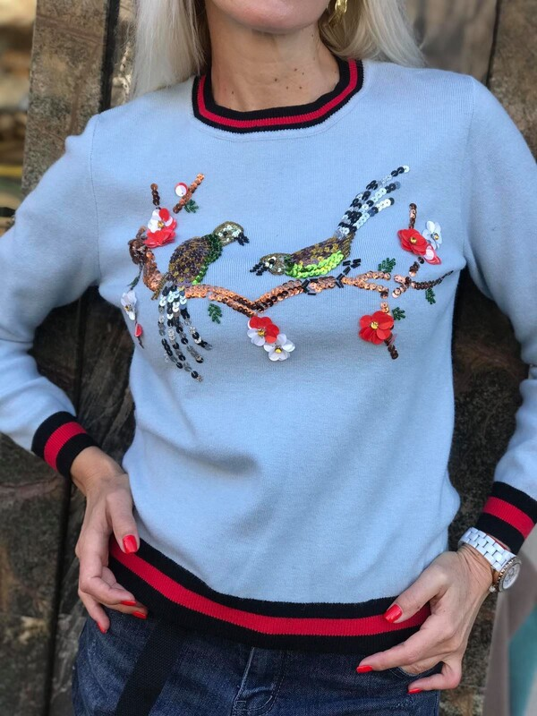 Син пуловер с птички