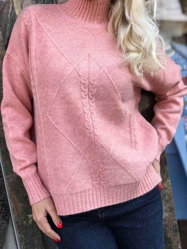 Пуловер one size в розов меланж