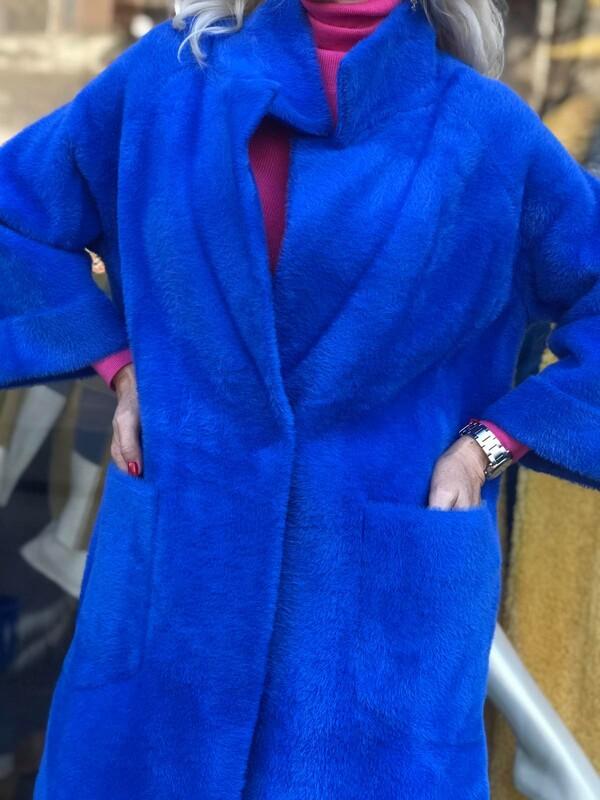 Палто в наситено син цвят
