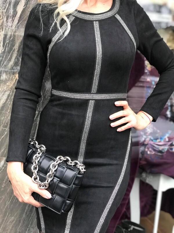 Черна велурена рокля