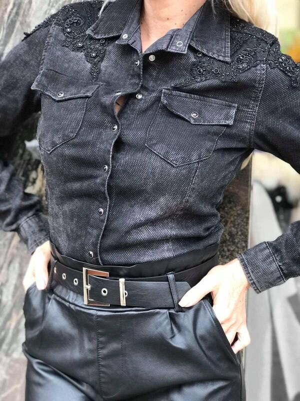Черна риза от деним