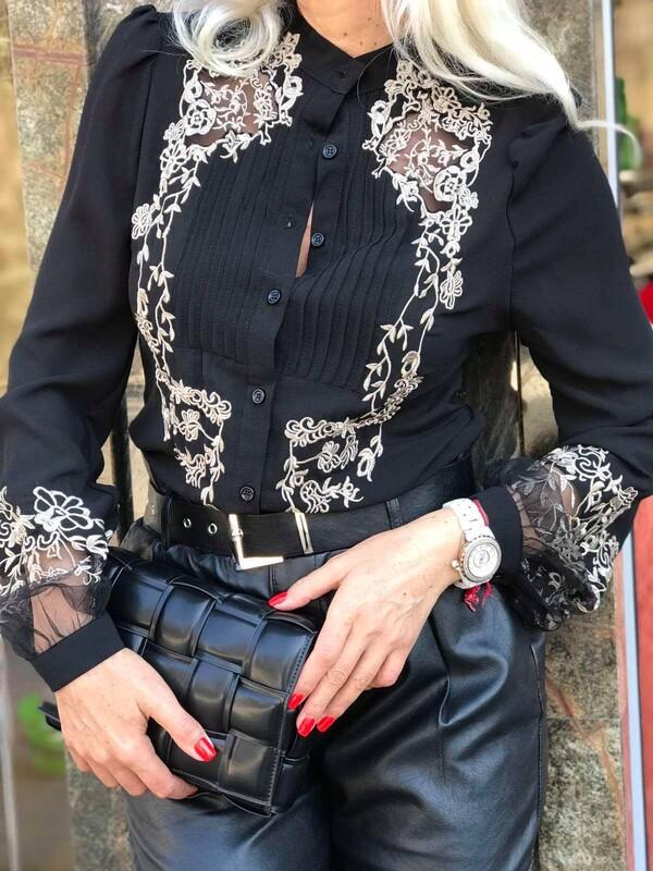 Черна риза с бродерии