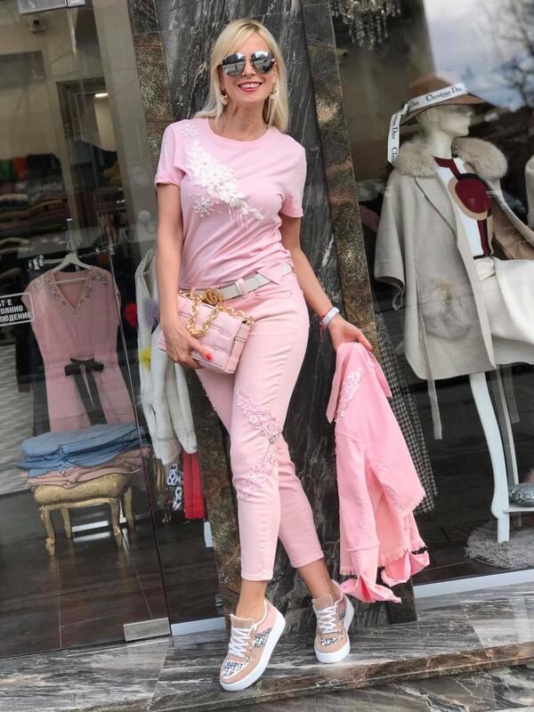 Блуза с къс ръкав в розово