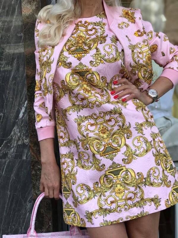 Сет в розово с орнаменти в жълто