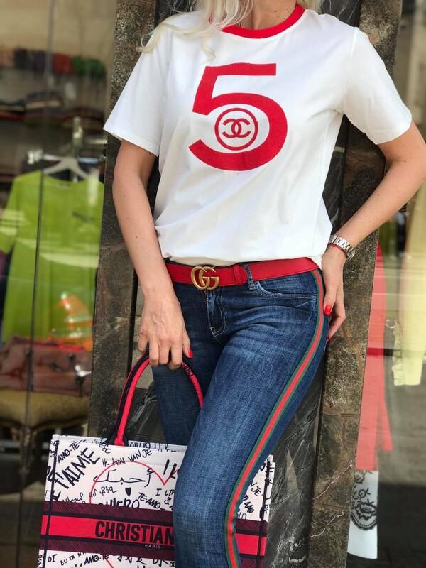 Тениска бяло и червено