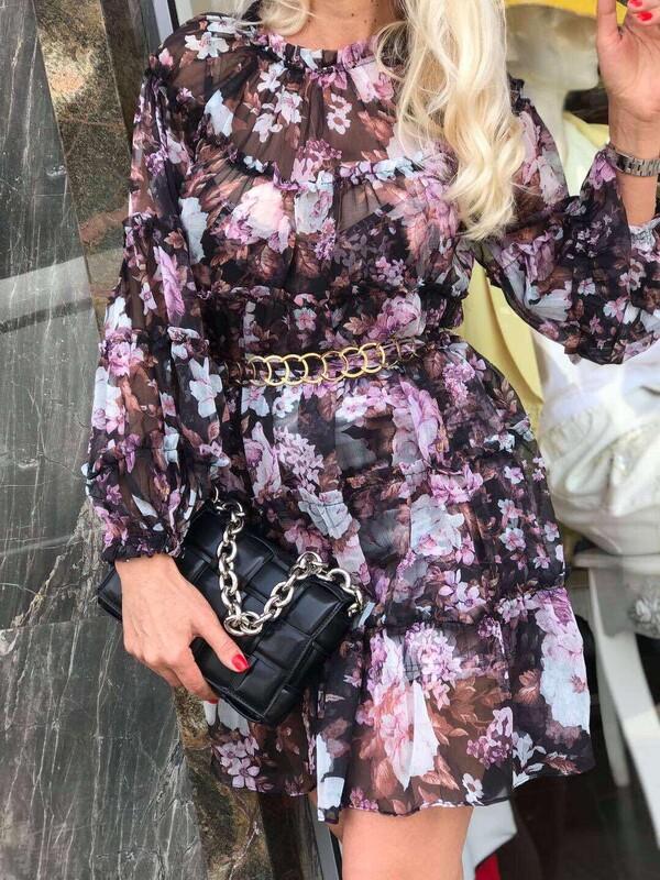 Шифонена рокля на цветя с колан