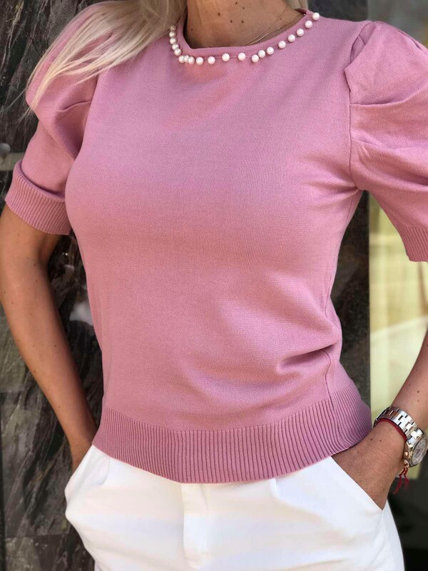 Блуза с перли в розово