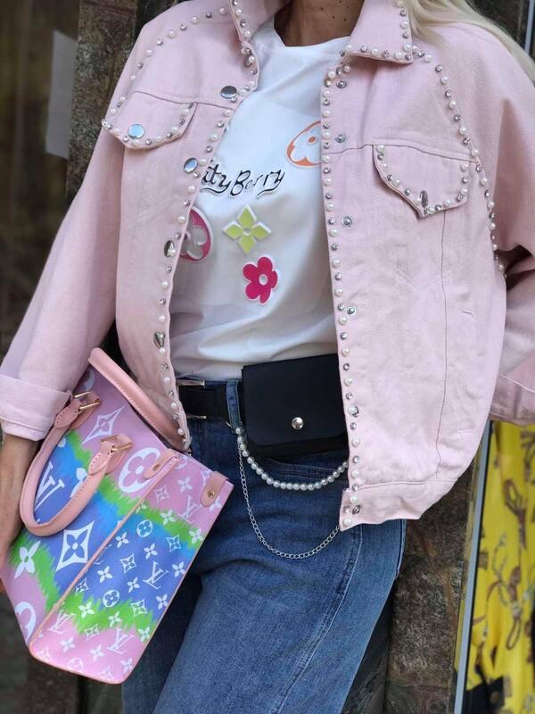 Дънково яке в розово с перли