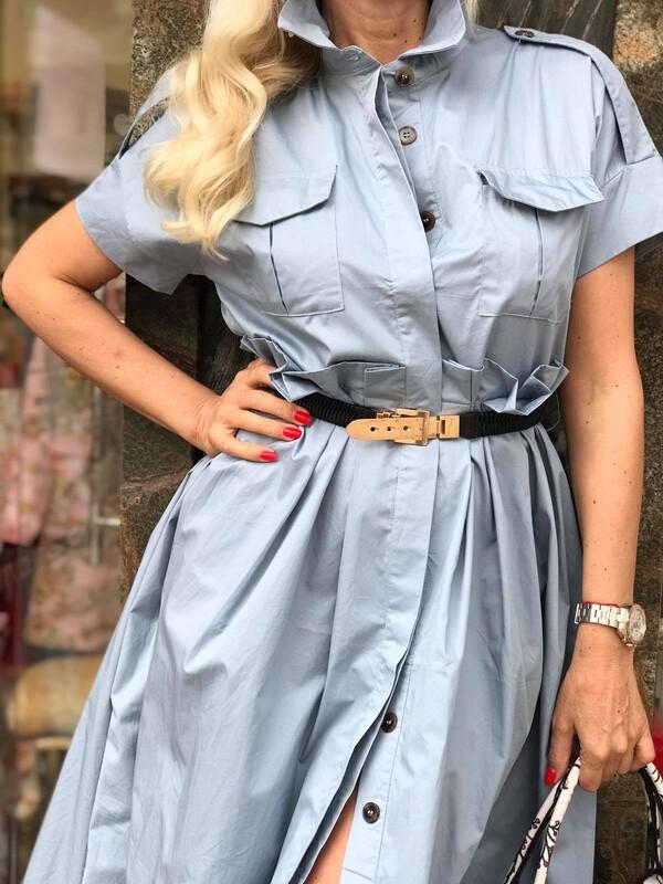 Рокля тип риза в светло синьо