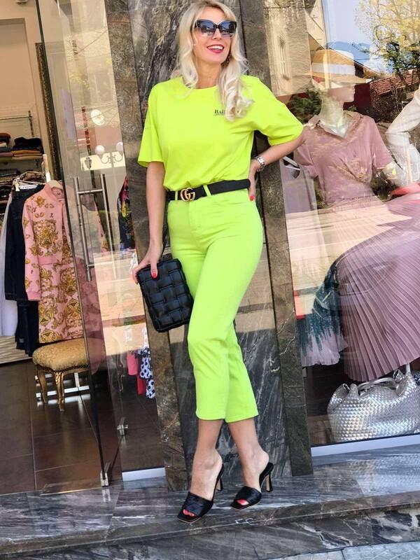 Панталон в неоново зелено
