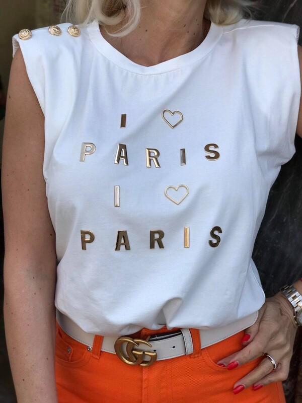 Тениска със златисти декорации