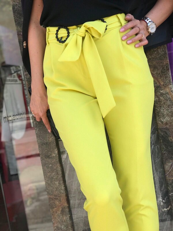 Панталон с колан в неонов цвят