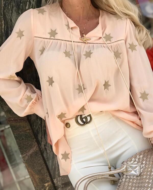 Риза в кремав цвят със звезди