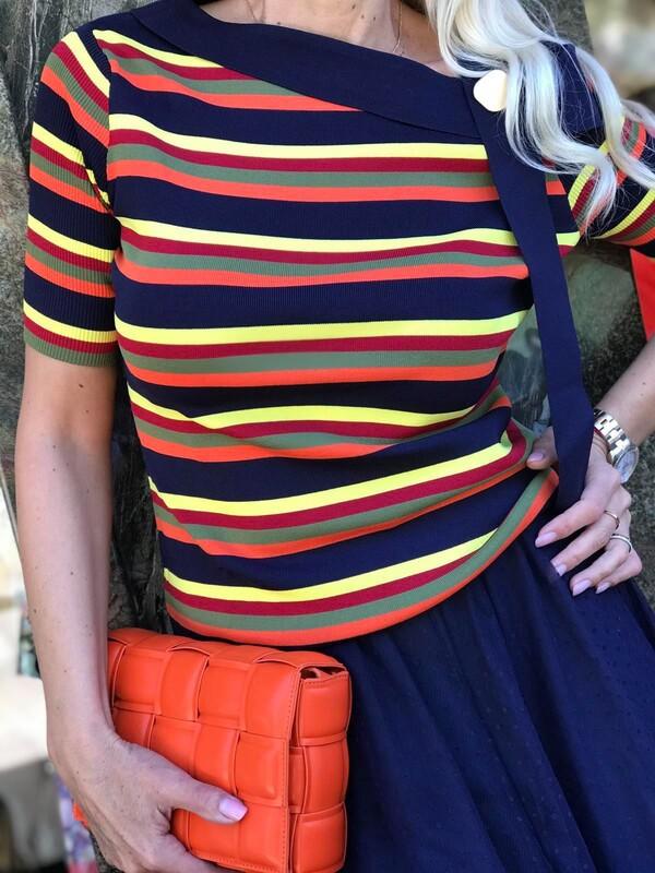 Цветна блуза с лодка деколте