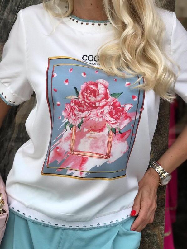 Блуза от тънка материя с десен