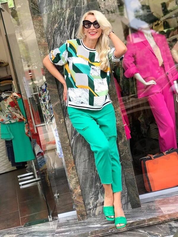 Дънков панталон в зелен цвят