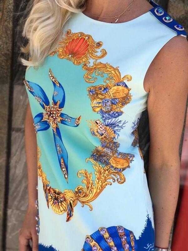 Къса рокля в морски стил
