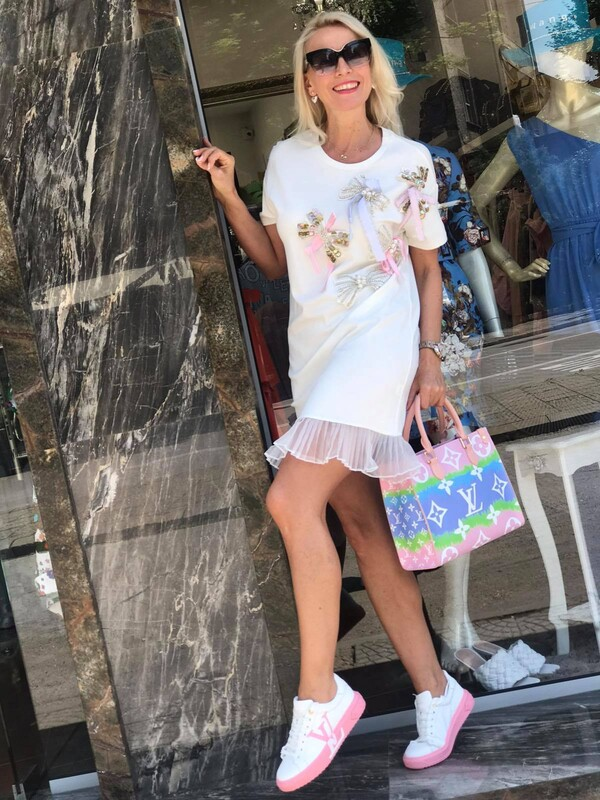 Памучна рокля с панделки